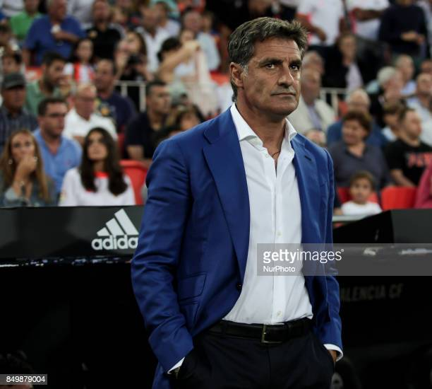 Head coach of Malaga CF Jose Miguel Gonzalez Martin del Campo Michel of Malaga CF during spanish La Liga match between Valencia CF vs Malaga CF at...