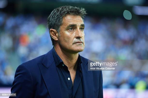 Head Coach of Malaga CF Michel Gonzalez looks on during the La Liga match between Malaga and Eibar at Estadio La Rosaleda on August 21 2017 in Malaga