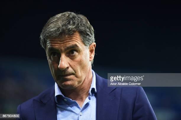 Head Coach of Malaga CF Michel Gonzalez looks on during the La Liga match between Malaga and Celta de Vigo at Estadio La Rosaleda on October 29 2017...