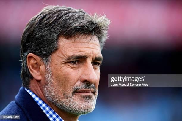 Head Coach of Malaga CF Michel Gonzalez reacts during the La Liga match between Real Sociedad de Futbol and Malaga CF at Estadio Anoeta on December...
