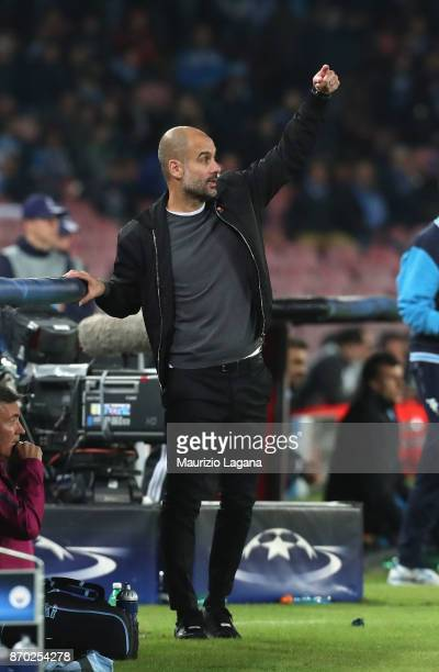 Head coach of Manchester City Josep Guardiola during the UEFA Champions League group F match between SSC Napoli and Manchester City at Stadio San...