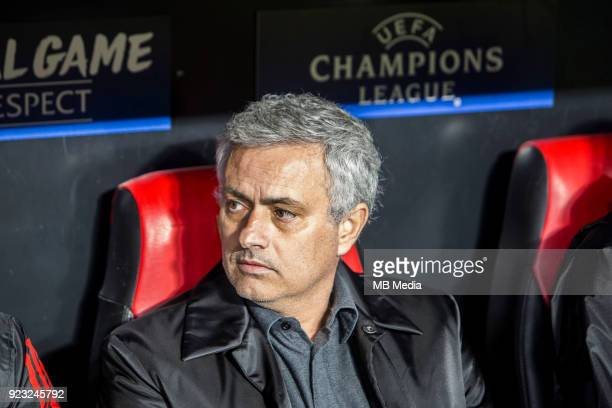 MOURINHO head coach of Manchester in the bench before the UEFA Champions League Round of 16 First Leg match between Sevilla FC and Manchester United...