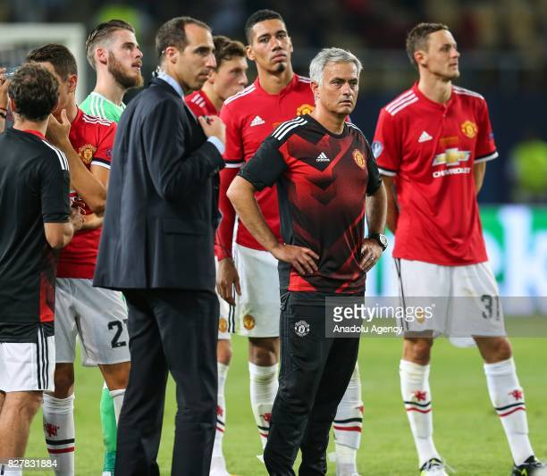Head Coach of Manchester United Jose Mourinho gestures after Real Madrid wins the UEFA Super Cup title in the final match against Manchester United...