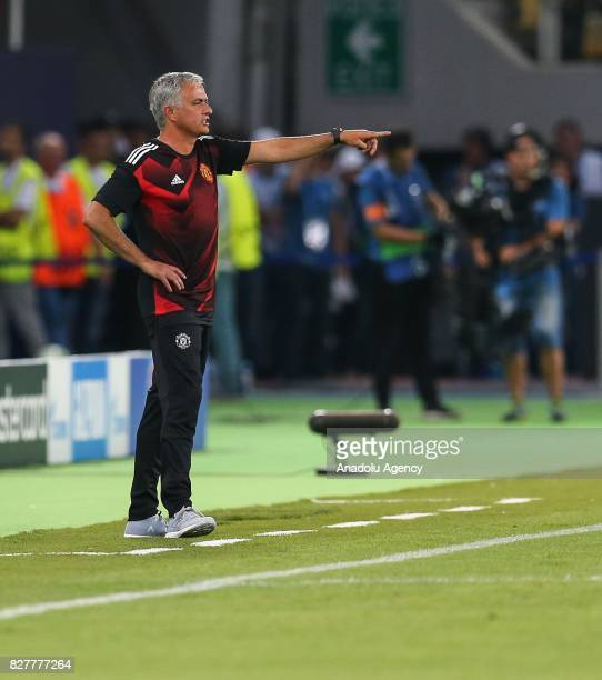 Head Coach of Manchester United Jose Mourinho gives tactics to his team during the UEFA Super Cup final between Real Madrid and Manchester United at...