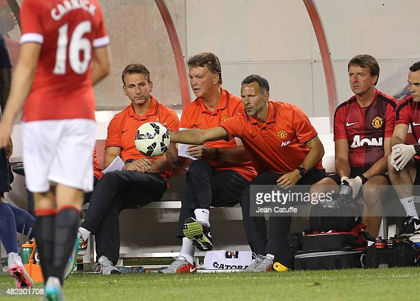Head coach of Manchester United Louis van Gaal and assistantcoach Ryan Giggs react during the International Champions Cup 2015 game between...