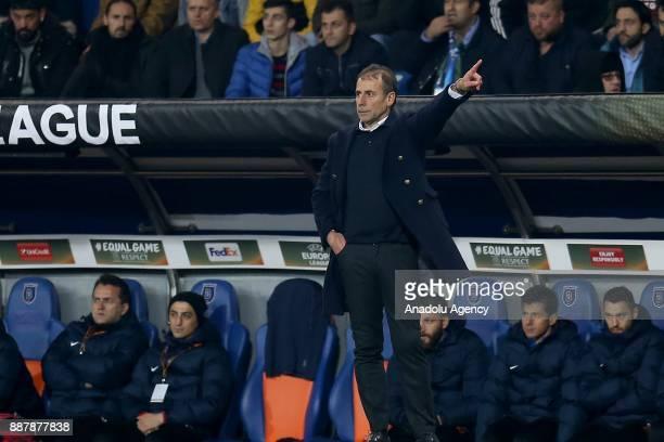 Head coach of Medipol Basaksehir Abdullah Avci gives tactics to his players during UEFA Europa League Group C soccer match between Medipol Basaksehir...