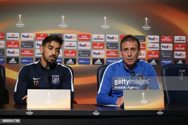Head coach of Medipol Basaksehir Abdullah Avci holds a press conference with Irfan Can Kahveci of Medipol Basaksehir ahead of the UEFA Europa League...