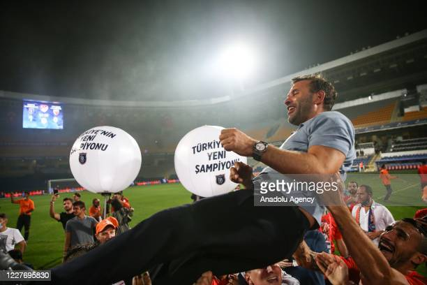 Head Coach of Medipol Basaksehir Okan Buruk celebrates as Medipol Basaksehir clinched the first ever Turkish Super Lig title after second-place...