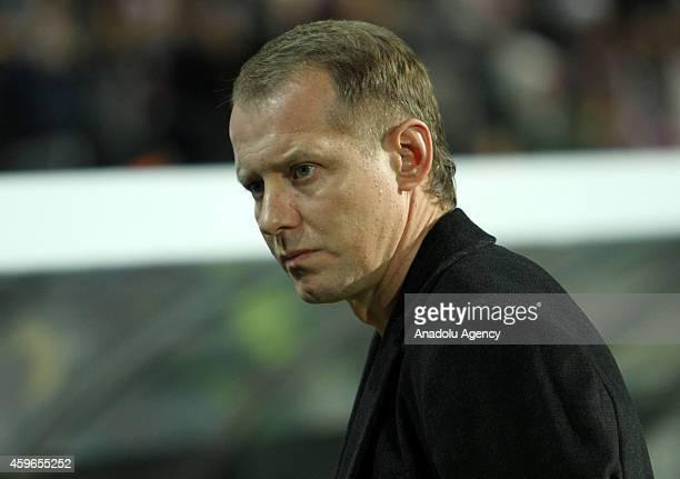 Head coach of Metalist Kharkiv Igor Rakhaiev looks on during the UEFA Europa League Group L football match Trabzonspor vs Metalist Kharkiv at Huseyin...