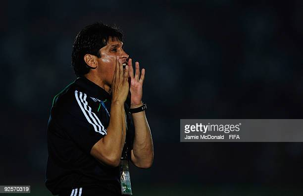 Head Coach of Mexico Jose Luis Gonzalez shouts instructions during the FIFA U17 World Cup match between Japan and Mexico at the Teslim Balogun...