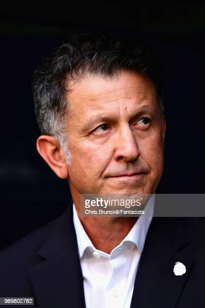 Head Coach of Mexico Juan Carlos Osorio looks on before the 2018 FIFA World Cup Russia Round of 16 match between Brazil and Mexico at Samara Arena on...