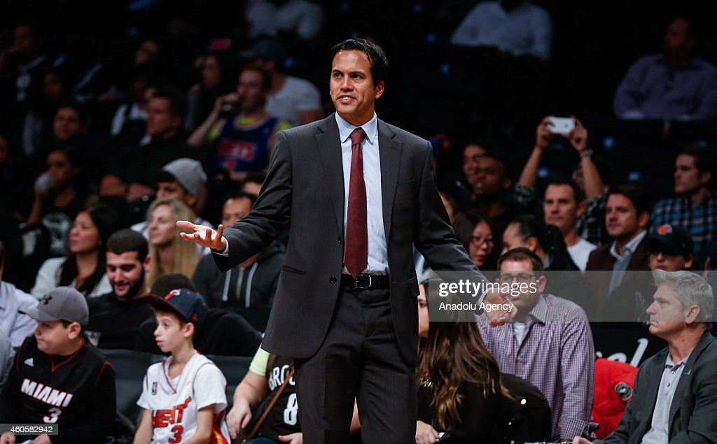 Head coach of Miami Heat Erik Spoelstra reacts during NBA basketball game between Brooklyn Nets and Miami Heat at the Barclays Center in the Brooklyn Borough of New York City, on December 16, 2014.