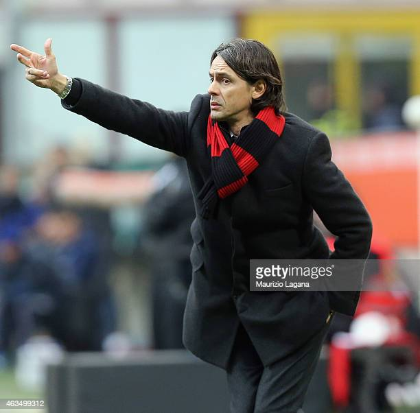Head coach of Milan Filippo Inzaghi during the Serie A match between AC Milan and Empoli FC at Stadio Giuseppe Meazza on February 15 2015 in Milan...