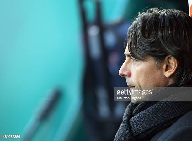 Head coach of Milan Filippo Inzaghi looks on during the Serie A match between AC Milan and US Sassuolo Calcio at Stadio Giuseppe Meazza on January 6...