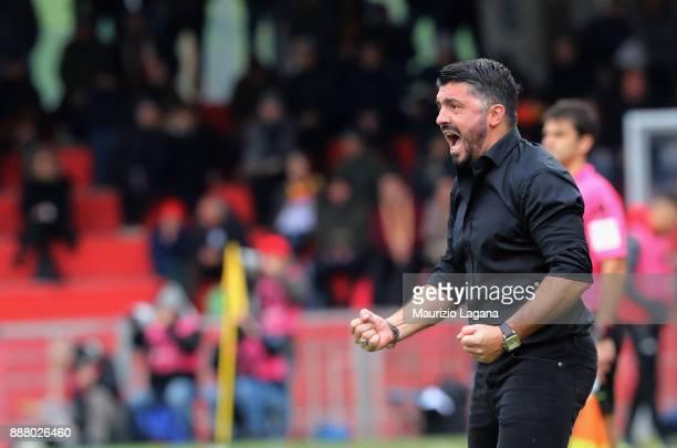Head coach of Milan Gennaro Gattuso celebrate during the Serie A match between Benevento Calcio and AC Milan at Stadio Ciro Vigorito on December 3...