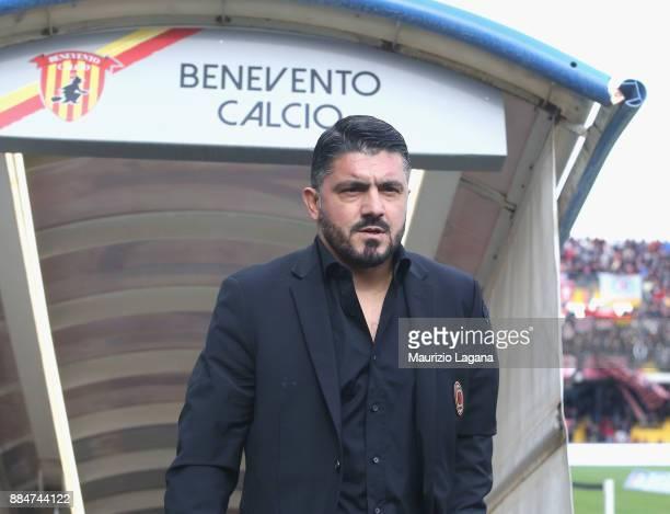 Head coach of Milan Gennaro Gattuso during the Serie A match between Benevento Calcio and AC Milan at Stadio Ciro Vigorito on December 3 2017 in...