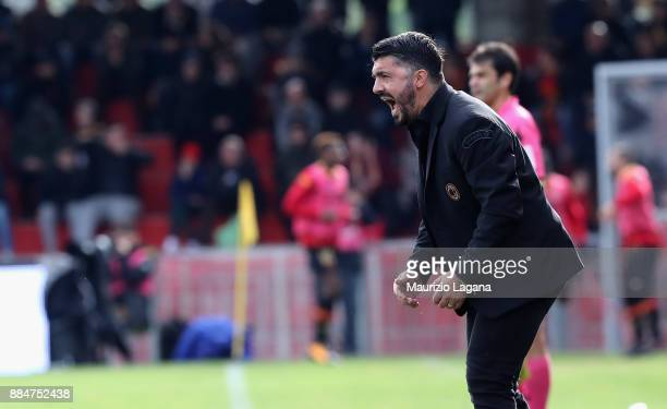 Head coach of Milan Gennaro Gattuso during the Serie A match between Benevento Calcio and AC Milan at Stadio Ciro Vigorito on December 3 2017 in...