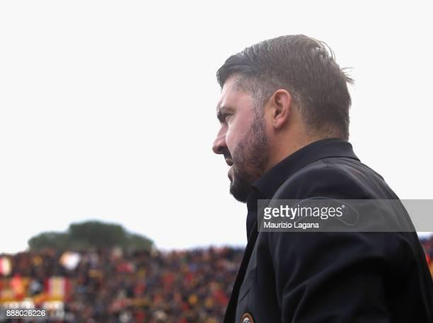 Head coach of Milan Gennaro Gattuso looks on during the Serie A match between Benevento Calcio and AC Milan at Stadio Ciro Vigorito on December 3...