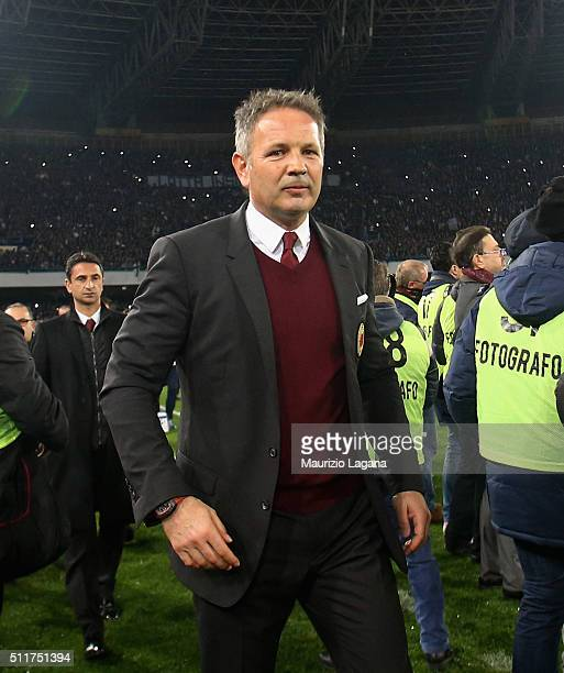 Head coach of Milan Sinisa Mihajlovic during the Serie A between SSC Napoli and AC Milan at Stadio San Paolo on February 22 2016 in Naples Italy