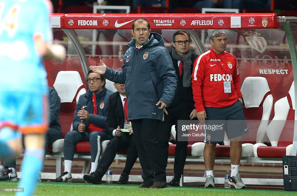 Head coach of Monaco Leonardo Jardim looks on during the French Ligue 1 match between AS Monaco FC v Olympique de Marseille OM at Stade Louis II on December 14, 2014 in Monaco.