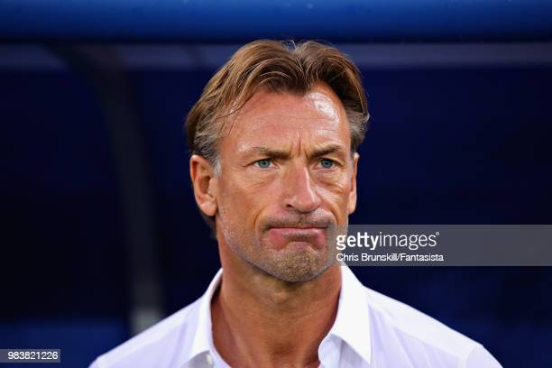 Head Coach of Morocco Herve Renard looks on before the 2018 FIFA World Cup Russia group B match between Spain and Morocco at Kaliningrad Stadium on...