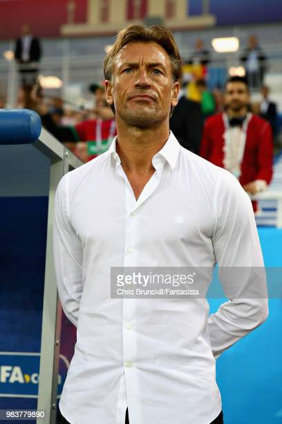 Head Coach of Morocco Herve Renard looks on during the 2018 FIFA World Cup Russia group B match between Spain and Morocco at Kaliningrad Stadium on...