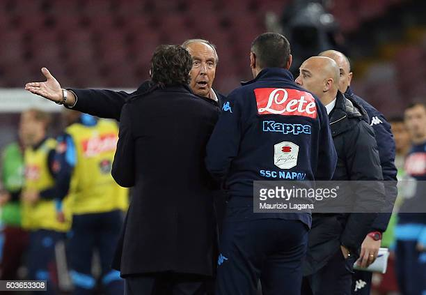 Head coach of Napoli Maurizio Sarri and head coach of Torino Giampiero Ventura during the Serie A match between SSC Napoli and Torino FC at Stadio...