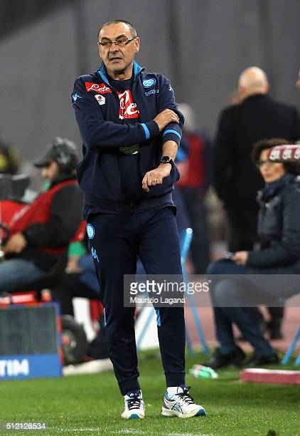 Head coach of Napoli Maurizio Sarri during the Serie A between SSC Napoli and AC Milan at Stadio San Paolo on February 22 2016 in Naples Italy