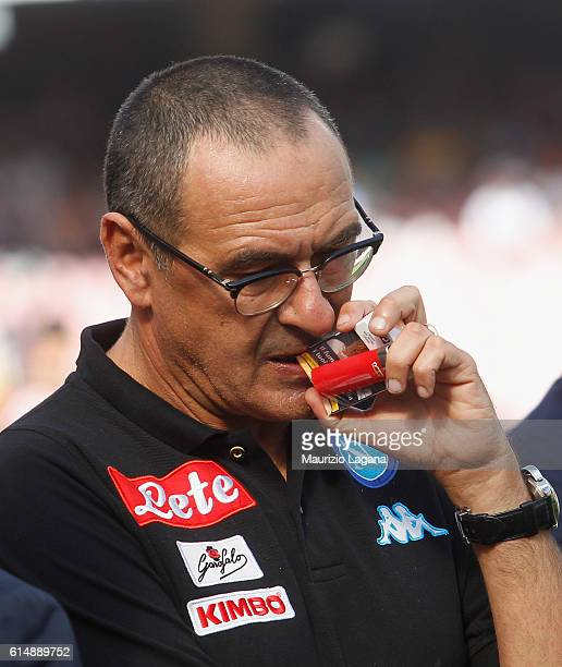 Head coach of Napoli Maurizio Sarri during the Serie A match between SSC Napoli and AS Roma at Stadio San Paolo on October 15 2016 in Naples Italy