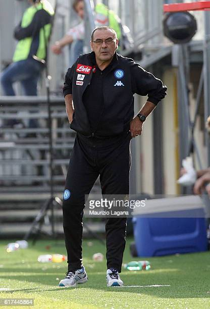 Head coach of Napoli Maurizio Sarri during the Serie A match between FC Crotone and SSC Napoli at Stadio Comunale Ezio Scida on October 23 2016 in...