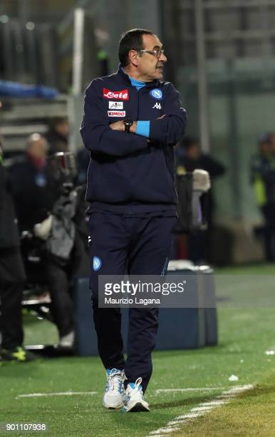 Head coach of Napoli Maurizio Sarri during the serie A match between FC Crotone and SSC Napoli at Stadio Comunale Ezio Scida on December 29 2017 in...