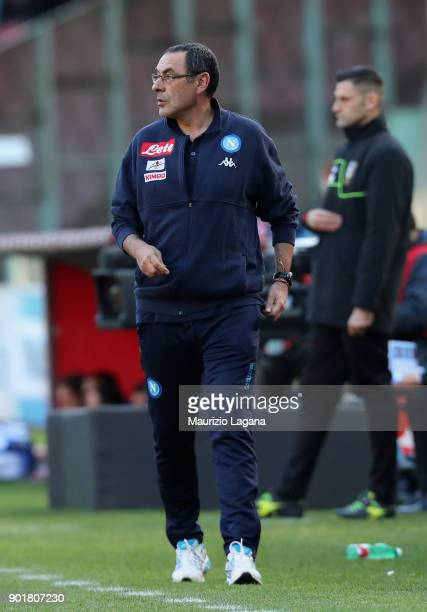 Head coach of Napoli Maurizio Sarri during the serie A match between SSC Napoli and Hellas Verona FC at Stadio San Paolo on January 6 2018 in Naples...