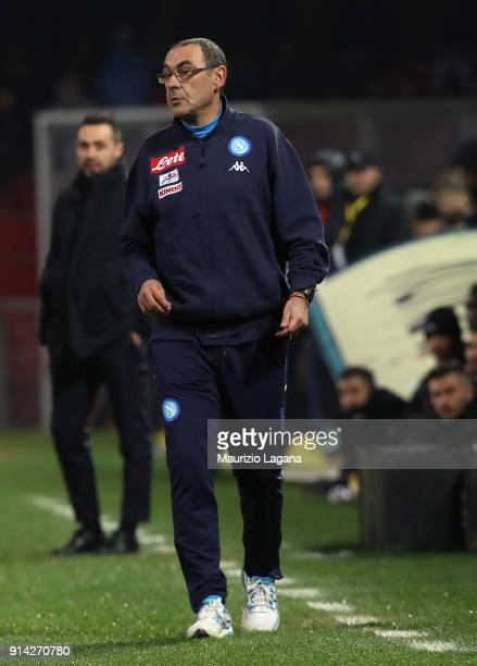 Head coach of Napoli Maurizio Sarri during the serie A match between Benevento Calcio and SSC Napoli at Stadio Ciro Vigorito on February 4 2018 in...