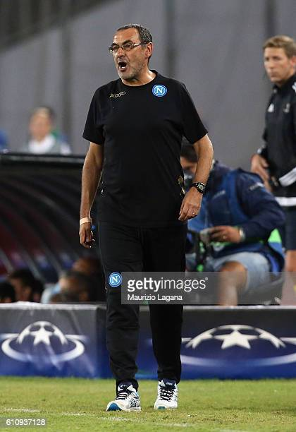 Head coach of Napoli Maurizio Sarri during the UEFA Champions League match between SSC Napoli and Benfica at Stadio San Paolo on September 28 2016 in...