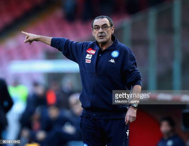 Head coach of Napoli Maurizio Sarri gestures during the serie A match between SSC Napoli and Hellas Verona FC at Stadio San Paolo on January 6 2018...