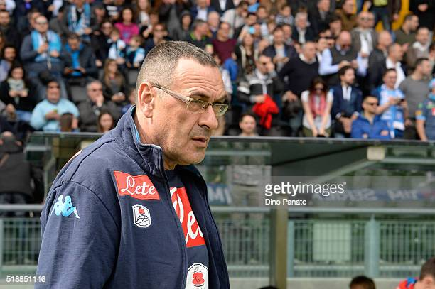 Head coach of Napoli Maurizio Sarri looks on during the Serie A match between Udinese Calcio and SSC Napoli at Stadio San Paolo on April 3 2016 in...
