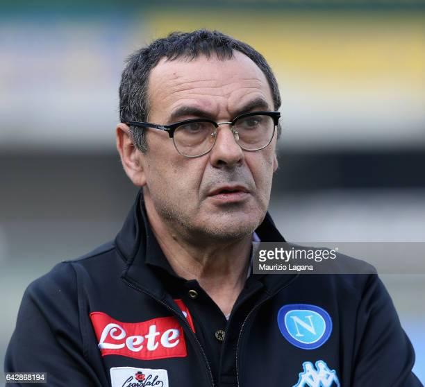 Head coach of Napoli Maurizio Sarri looks on during the Serie A match between AC ChievoVerona and SSC Napoli at Stadio Marc'Antonio Bentegodi on...
