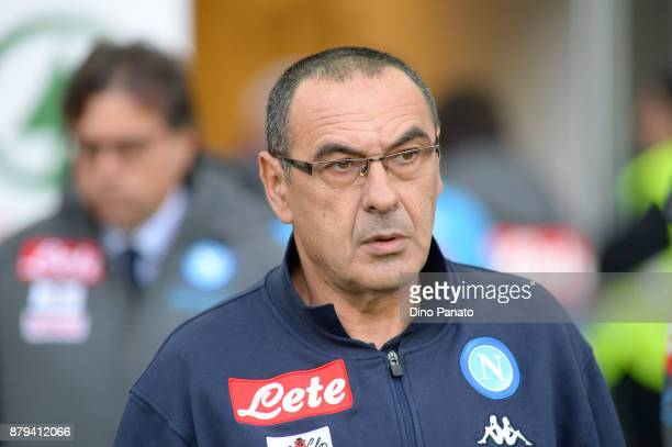 Head coach of Napoli Maurizio Sarri looks on during the Serie A match between Udinese Calcio and SSC Napoli at Stadio Friuli on November 26 2017 in...