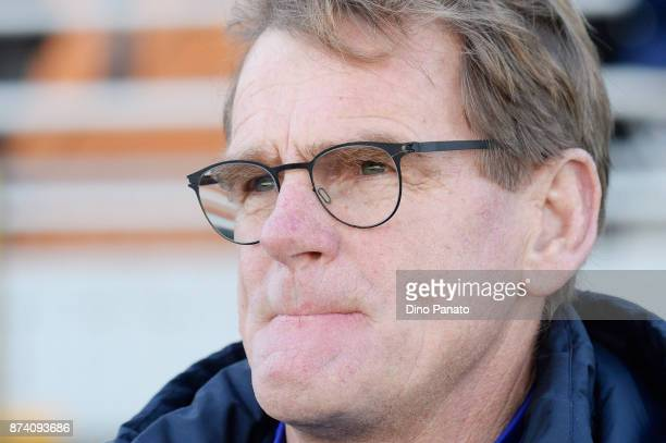 Head coach of Netherlands U20 Dwight Loderweges looks on during the 8 Nations Tournament match between Italy U20 and Netherlands U20 on November 14...