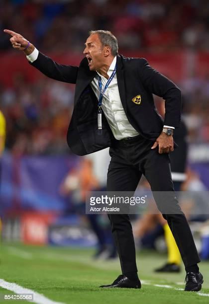 Head Coach of NK Maribor Darko Milanic reacts during the UEFA Champions League match between Sevilla FC and NK Maribor at Estadio Ramon Sanchez...