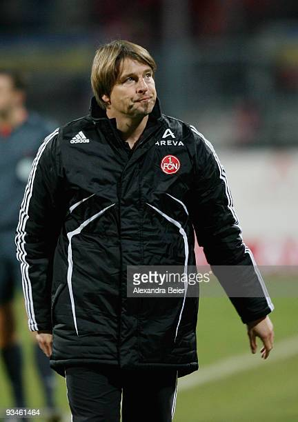 Head coach of Nuernberg Michael Oenning reacts during the Bundesliga match between 1. FC Nuernberg and SC Freiburg at Easy Credit Stadium on November...