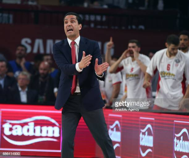 Head coach of Olympiacos Ioannis Sfairopoulos gestures during the Turkish Airlines Euroleague Final Four basketball final match between Fenerbahce...