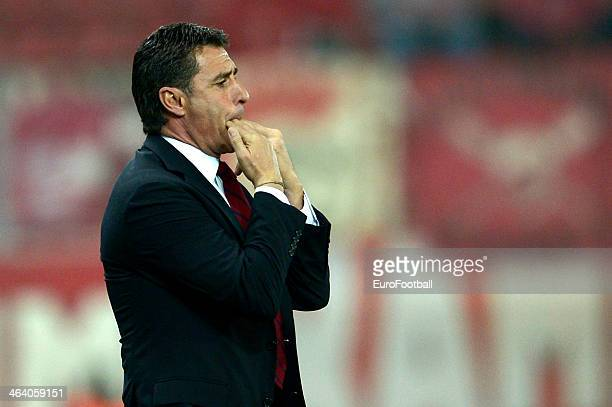 Head Coach of Olympiacos Michel whistles from the technical area during the Greek Superleague match between Olympiacos and Levadiakos at the Georgios...
