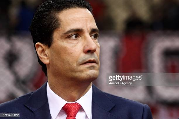 Head coach of Olympiacos Piraeus Ioannis Sfairopoulos looks on during the Turkish Airlines Euroleague basketball match between Panathinaikos...