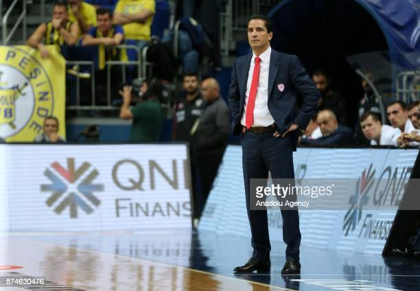 Head coach of Olympiacos Sfairopoulos Giannis is seen during the Turkish Airlines Euroleague basketball match between Fenerbahce Dogus and Olympiacos...