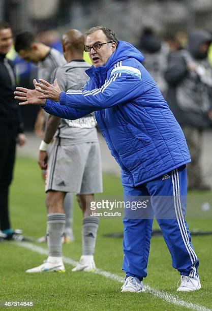 Head coach of OM Marcelo Bielsa reacts during the French Ligue 1 match between RC Lens and Olympique de Marseille at Stade de France on March 22 2015...