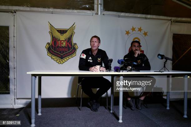 Head coach of Ostersunds Graham Potter and Brwa Nouri hold a press conference ahead of the UEFA Europa League second qualifying round match between...