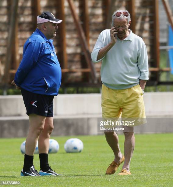 Head coach of Palermo Bruno Tadino with president Maurizio Zamparini during pre-season training camp on July 13, 2017 in Bad Kleinkirchheim, Austria.