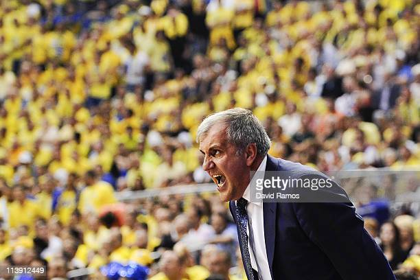 Head coach of Panathinaikos Zeljko Obradovic reacts during the Turkish Airlines EuroLeague Final Four final match between Panathinaikos and Maccabi...