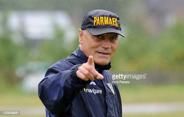Head coach of Parma Franco Colomba looks on during a Parma FC preseason training session at the Hives centre in London on August 4 2011 in London...